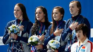 The USA 4x200 freestyle relay ladies celebrate gold at the 2015 Swimming Worlds