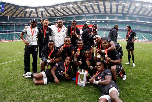 Fiji celebrate their Rugby Sevens World Series win