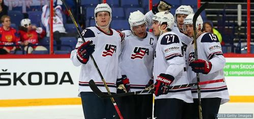 The USA Men, third at the Ice Hockey Worlds 2013