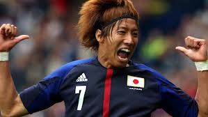 Yuki Otsu (Japan) celebrates his goal vs Spain in the Olympic tournament
