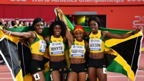 Jamaica's 4x100m women's relay team won gold at the 2019 Athletics World Championships – pict.: AFP