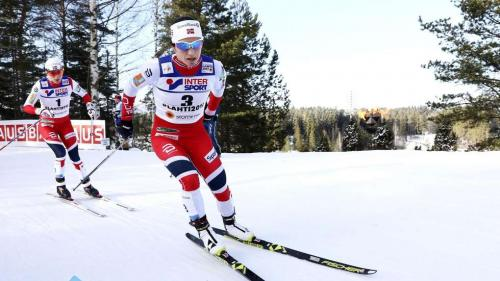 Marit Bjørgen of Norway powering to one of her four golds at the Cross Country Skiing World Championships 2017