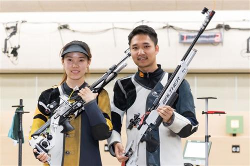 China's Yang Haoran and Zhao Ruozhu won gold in the 10m air rifle mixed team event at the 2018 ISSF Shooting World Championships