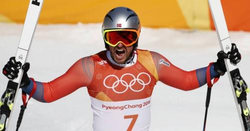 Axel-Lund Svindal of Norway celebrating victory in the men's Alpine Skiing Downhill at the 2018 PyeongChang Winter Olympics