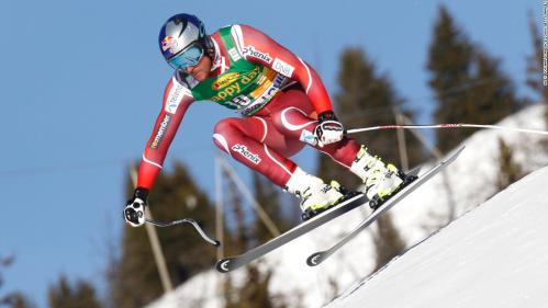 Axel Lund Svindal of Norway powers down a downhill course in the Alpine Skiing World Cup