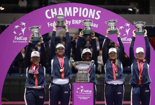 US Ladies celebrate their Tennis Federation Cup 2017 win