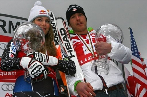 World Cup winners L. Vonn and B. Miller of the USA