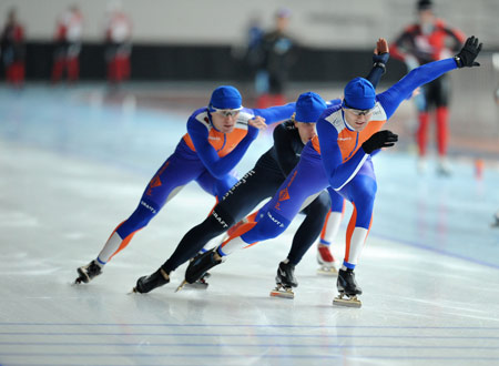 Dutch speedskaters training