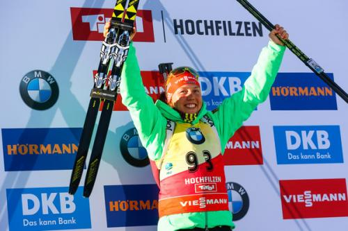 Laura Dahlmeier (Germany) celebrates one of her 5 golds at the Biathlon Worlds