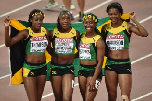Jamaica's women 4x100m relay won gold at the Athletics World Championships 2015