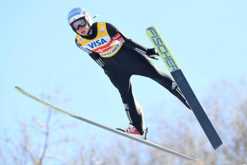 Maren Lundby (Norway) flying to Ski Jumping World Cup victory