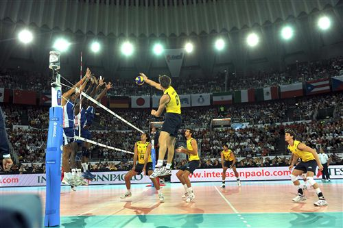 Murilo of Brazil spikes in the Volleyball Worlds final