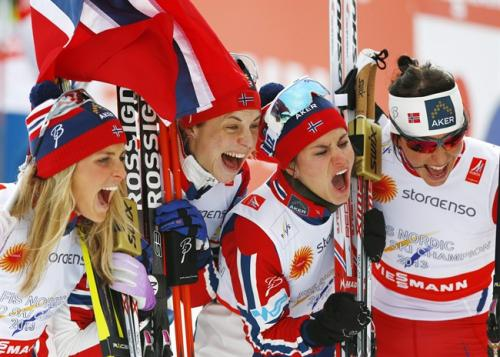 The Norway ladies' relay celebrates gold at the Cross Country Skiing Worlds in Falun (Sweden)