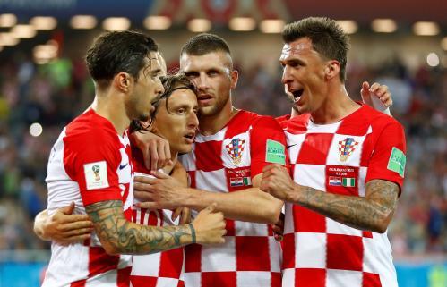 Croatia celebrates scoring a goal at the Russia 2018 Football World Cup