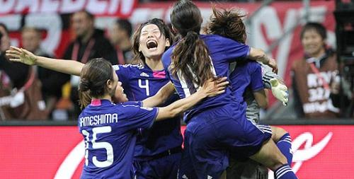 Japan celebrates after beating the USA on penalties for the Women World Cup