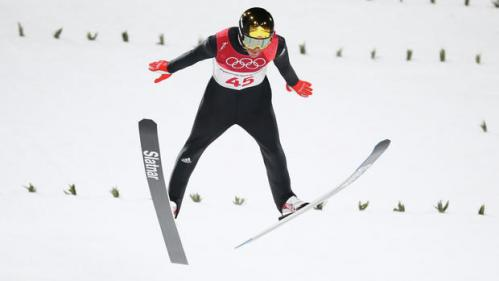 Robert Johansson in full flight, helping Norway take gold in the Ski Jumping team event at the PyeongChang Olympics