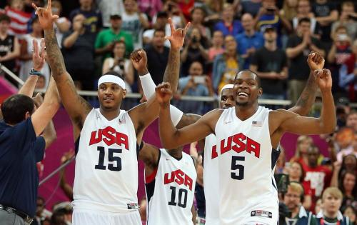 The USA Men's Basketball team on the way to their Olympic gold medal