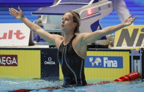 F.Pellegrini (Italy), Olympic and Swimming World Champ. gold medallist and women's 200 m freestyle world record holder – AP/Lee