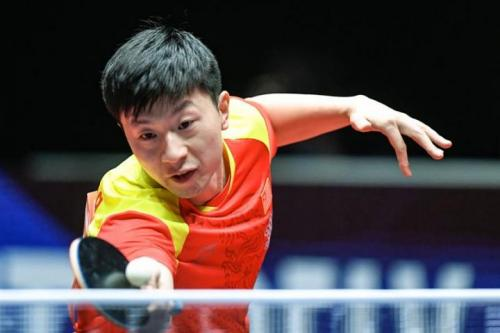 Ma Long of China in action at the Table Tennis World Team Championships in Halmstadt, Sweden